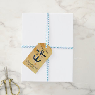 Blaues Ankergoldgestreifter Hochzeitsgeschenkumbau Geschenkanhänger