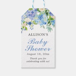 Blaues Aquarell BlumenBabyl Geschenkanhänger