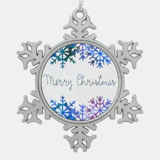 Blaues Aquarell-frohe Weihnachten Schneeflocken Zinn-Ornament