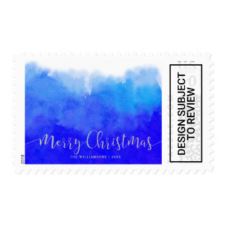 Blue Watercolor and Silver Merry Christmas