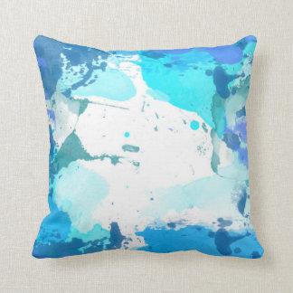 Blaues Aquarell-Wurfskissen Kissen