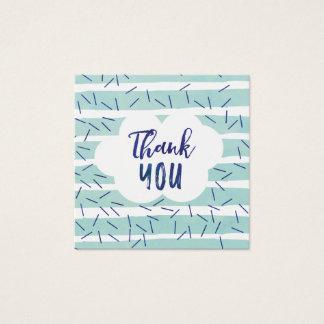 Blaues Baby besprühen danken Ihnen etikettiert für Quadratische Visitenkarte