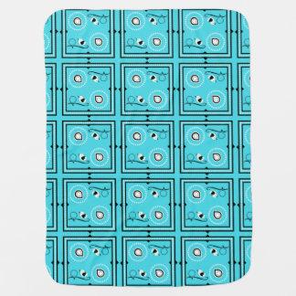 Blaues Baby-Decke Paisleys mit Vögeln u. Babydecke