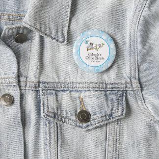 Blaues Baby-Eulen-Babyparty-Thema Runder Button 5,1 Cm
