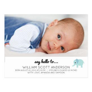 Blaues Baby-Jungen-Geburts-Mitteilungs-Foto Postkarte