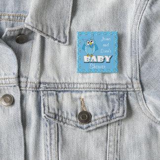 Blaues Babyparty-Thema der Tupfen-Eulen-| Quadratischer Button 5,1 Cm