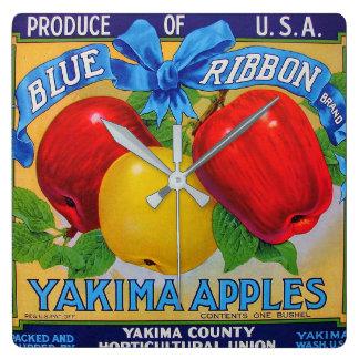 Blaues Band-Marken-Apple-Kisten-Aufkleber Quadratische Wanduhr