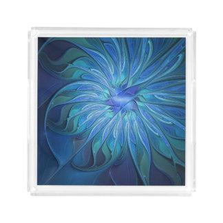 Blaues Blumen-Fantasie-Muster, abstrakte Acryl Tablett