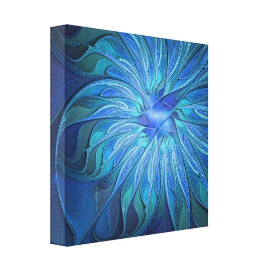 Blaues Blumen-Fantasie-Muster, abstrakte Leinwanddruck
