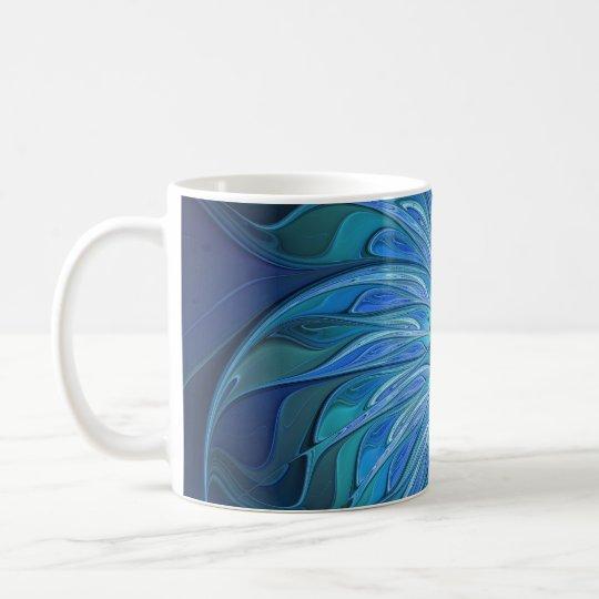 Blaues Blumen-Fantasie-Muster, abstrakte Tasse