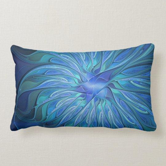 Blaues Blumen-Fantasie-Muster, abstrakte Zierkissen