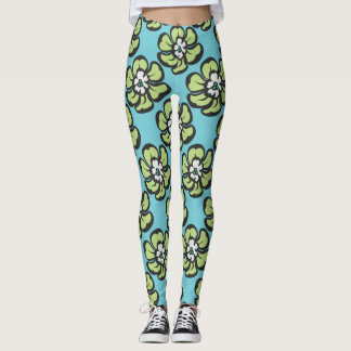Blaues Blumen Leggings