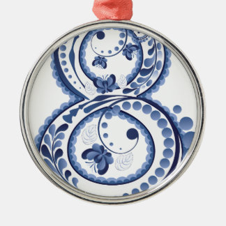 Blaues BlumenEight3 Rundes Silberfarbenes Ornament