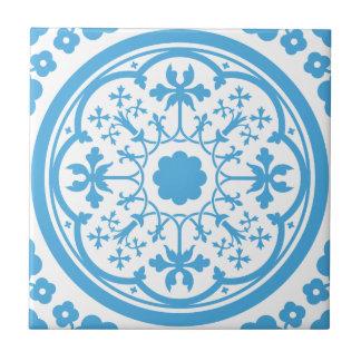Blaues Blumenmuster Kleine Quadratische Fliese
