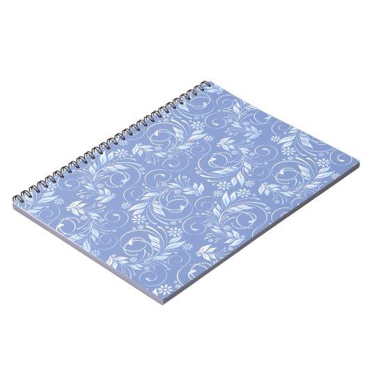 blaues Blumenmuster Spiral Notizblock