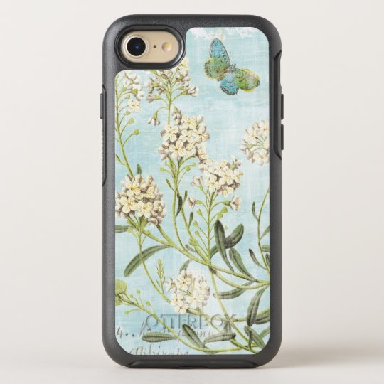 Blaues botanisches OtterBox symmetry iPhone 7 hülle