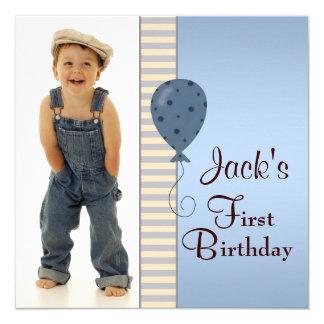 Blaues Brown-Jungen-Foto-1. Geburtstags-Party Quadratische 13,3 Cm Einladungskarte