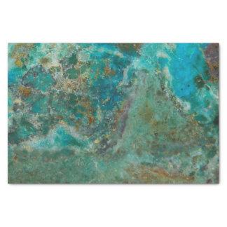 Blaues Chrysocolla Steinbild Seidenpapier