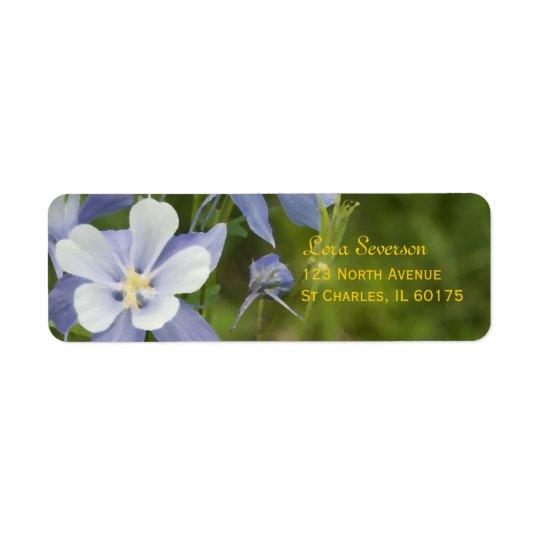 Blaues Columbine-Blumen-Rücksendeadresse Rücksendeetikett
