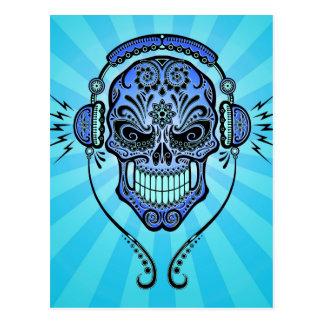 Blaues DJ zuckern Schädel mit Strahlen des Lichtes Postkarte