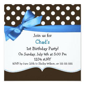 blaues erstes Geburtstags-Party der Quadratische 13,3 Cm Einladungskarte