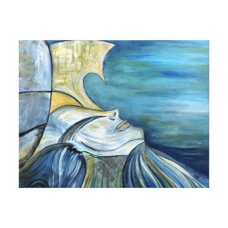 "Blaues Fantasie-Meerjungfrau-Göttin-Porträt 1,5"" Leinwanddruck"
