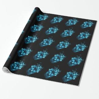 Blaues Feuer-Schädel-Packpapier Geschenkpapier