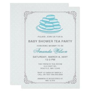 Blaues Franzosen Macaron Baby-Duschen-Tee-Party 12,7 X 17,8 Cm Einladungskarte