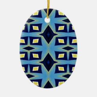 Blaues gelbes geometrisches flippiges Muster Keramik Ornament