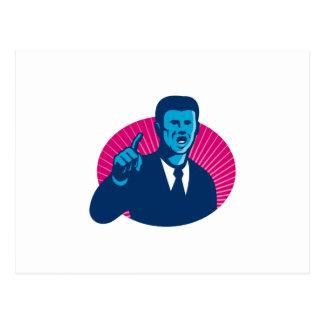 blaues Geschäftsmannpolitikerzeigen Retro Postkarte