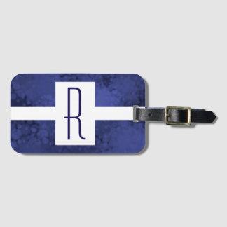 Blaues gesprenkeltes Monogramm Gepäckanhänger