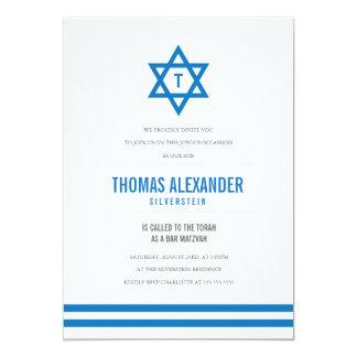 Blaues gestreiftes Bar Mitzvah laden ein 12,7 X 17,8 Cm Einladungskarte
