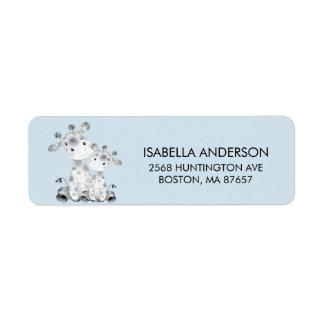 Blaues Giraffen-Babyparty-Adressen-Etikett