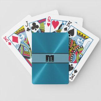 Blaues glänzendes Edelstahl-Metall 5 Bicycle Spielkarten