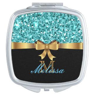 Blaues GLITTER-SCHWARZ-aquamarines GOLDENES Schminkspiegel