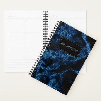 Blaues Glitzer-Marmor-Beschaffenheits-Monogramm Planer
