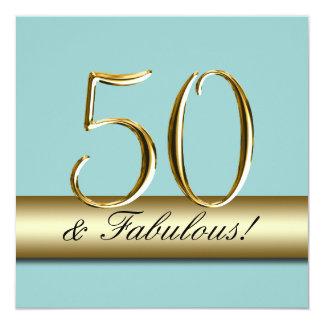 Blaues Goldeinfache 50. Geburtstags-Party Quadratische 13,3 Cm Einladungskarte