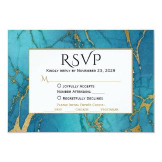 Blaues Goldmarmor UAWG, das Antwort mit Mahlzeit 8,9 X 12,7 Cm Einladungskarte