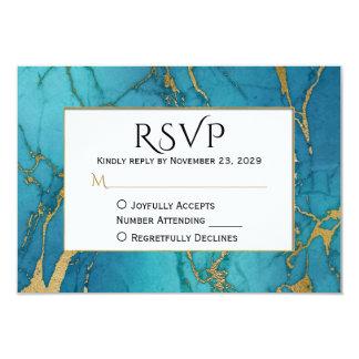 Blaues Goldmarmor UAWG, das Antwort Wedding ist 8,9 X 12,7 Cm Einladungskarte