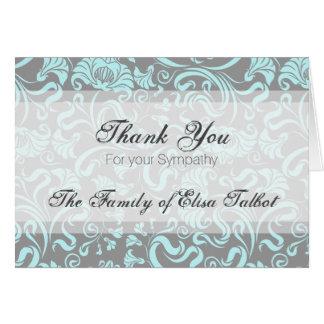 Blaues Grau-danken Blumenmuster-Beileid Ihnen Karte