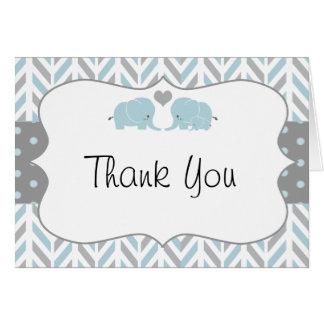 Blaues Grau-Elefant-Babyparty danken Ihnen zu Karte