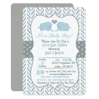 Blaues Grau-Elefant-Babyparty-Einladung Karte