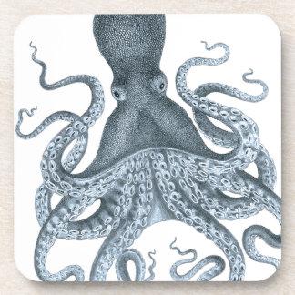 Blaues Grau-Vintage Kraken-Illustration Getränkeuntersetzer