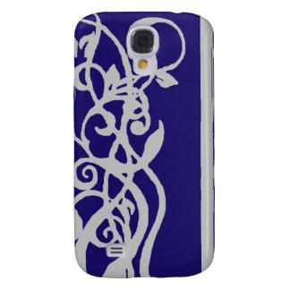 Blaues/graues Blumenmuster Galaxy S4 Hülle
