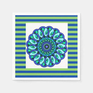 Blaues Grün-abgestreifte geometrische Papierserviette