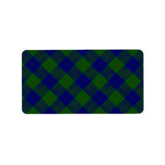 Blaues Grün Barclay-Clan Tartan kariert Adressaufkleber