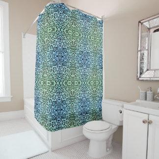 Blaues Grün-Leopard-Katzen-Öl-Farben-Effekt Duschvorhang