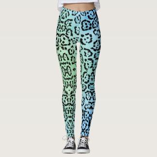 Blaues Grün-Leopard-Katzen-Öl-Farben-Effekt Leggings