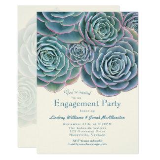 Blaues Grün-saftige Verlobungs-Party Einladung