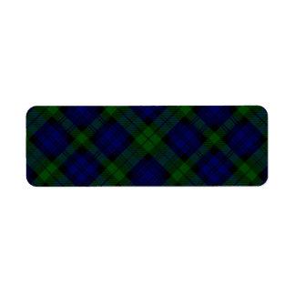 Blaues Grün schwarzen Uhrclan Tartan kariert